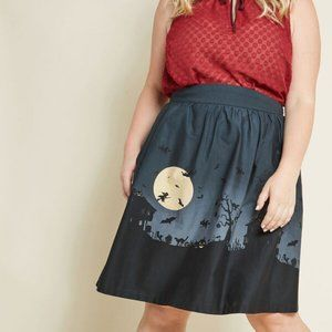 Modcloth Hint of Haunted Cotton A-line Skirt 1X